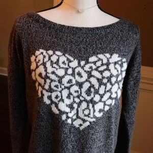 Express Leopard Heart Graphic Sweater